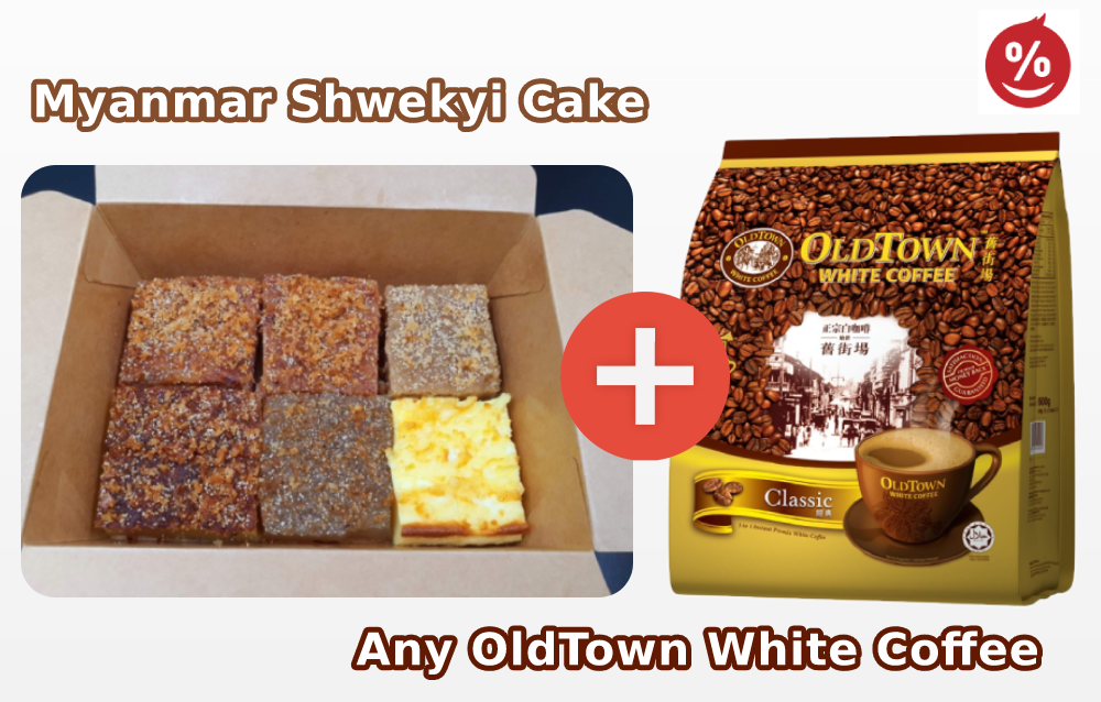 Myanmar Shwekyi Cake + OldTown White Coffee