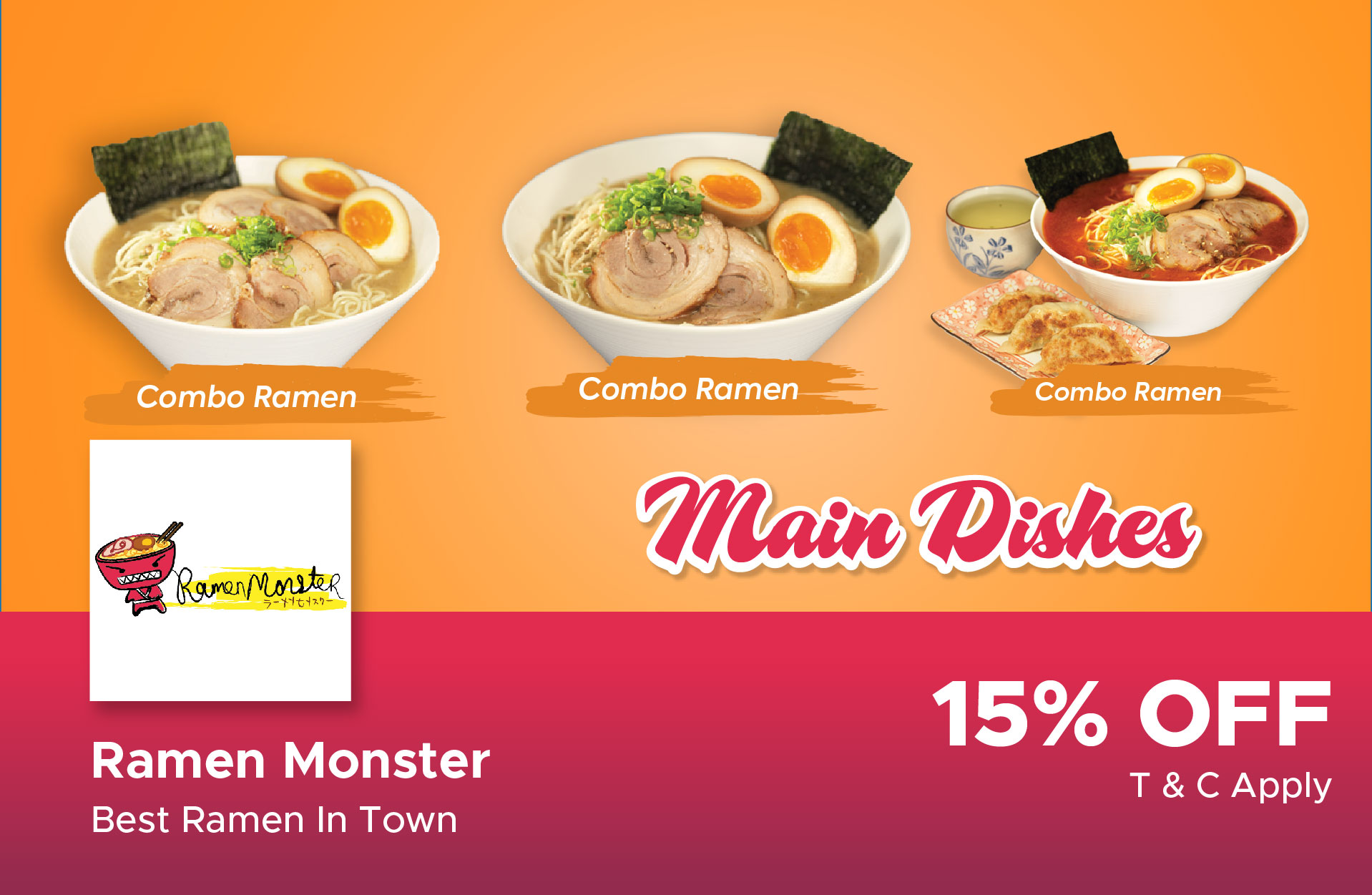 15% Discount For Main Menu