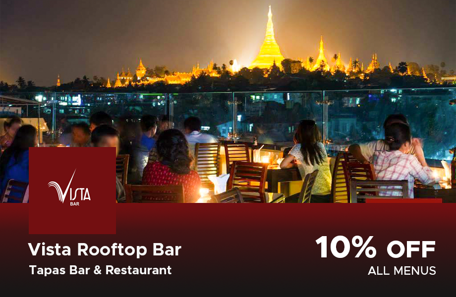 10% Discount on total bill at Vista Rooftop bar, Yangon