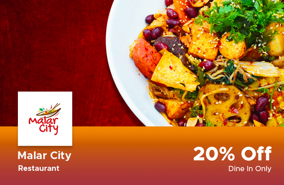 20% Discount on total bill at Malar City, Yangon