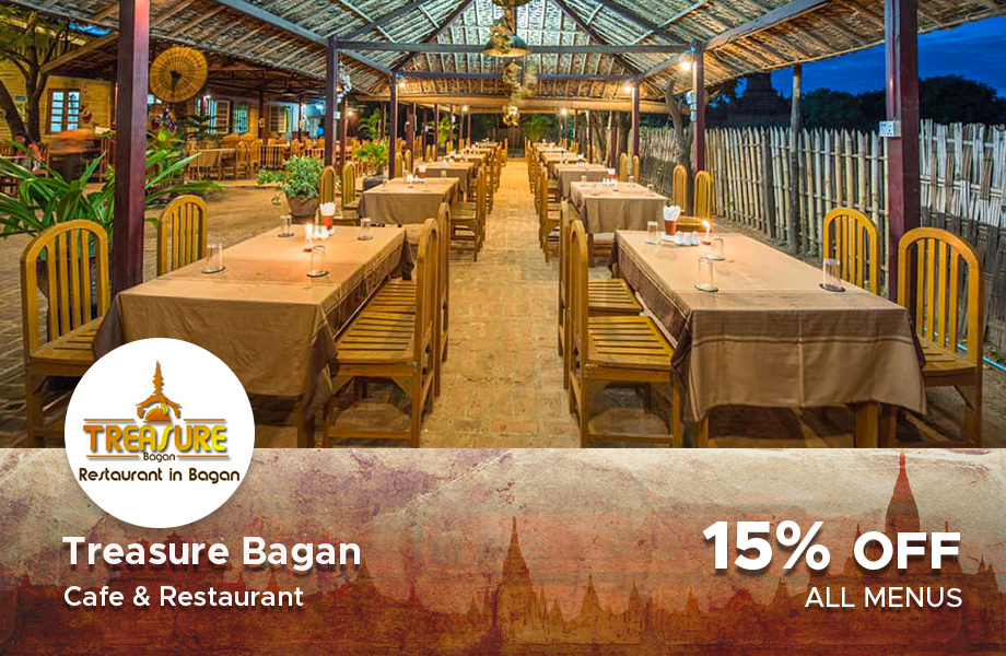 15 % Discount on total bill at Treasure Restaurant, Bagan