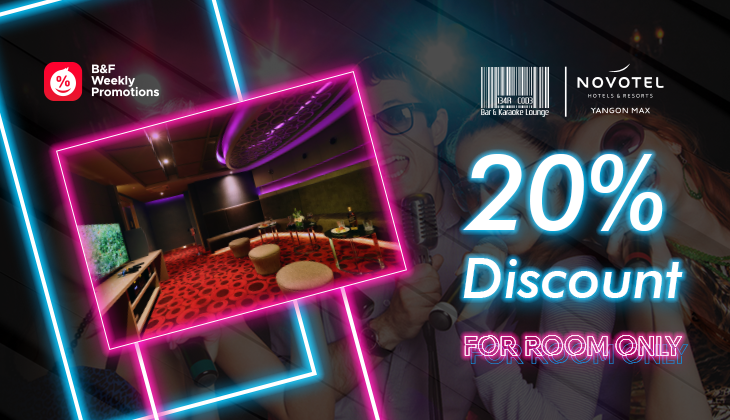 20% Discount on room charges at Bar Code, Novotel Yangon